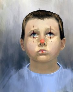 Boy Clown - a male portrait - Angela Murdock