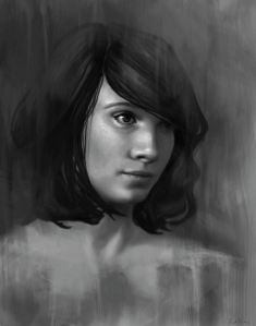 Shy - Black and White Female Portrait by Angela Murdock