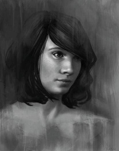 Shy - Black and White Female Portrait by Angela Murdock