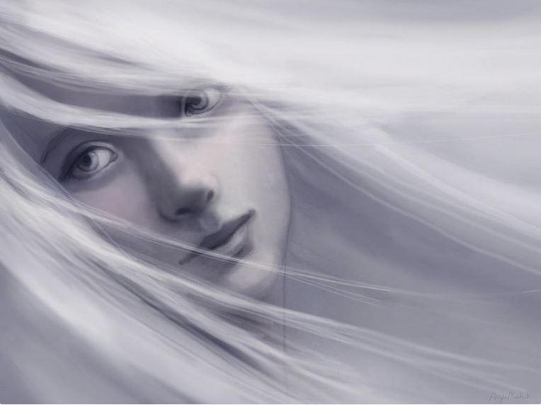 memory: a female portrait - art by Angela Murdock