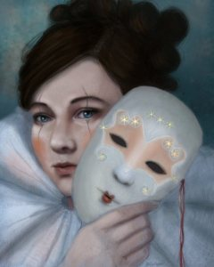 Hiding Behind Masks Portrait Art by Angela Murdock
