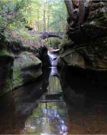 Bridge over Waterfall: Hocking Hills Fine Art Prints by Angela Murdock