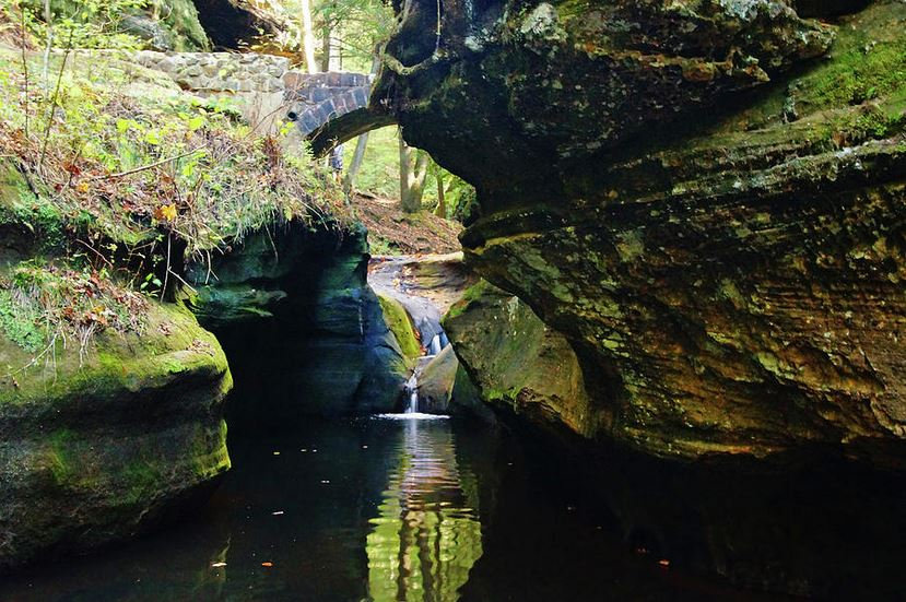 waterfall between cliffs: Hocking Hills Fine Art Prints by Mike Murdock