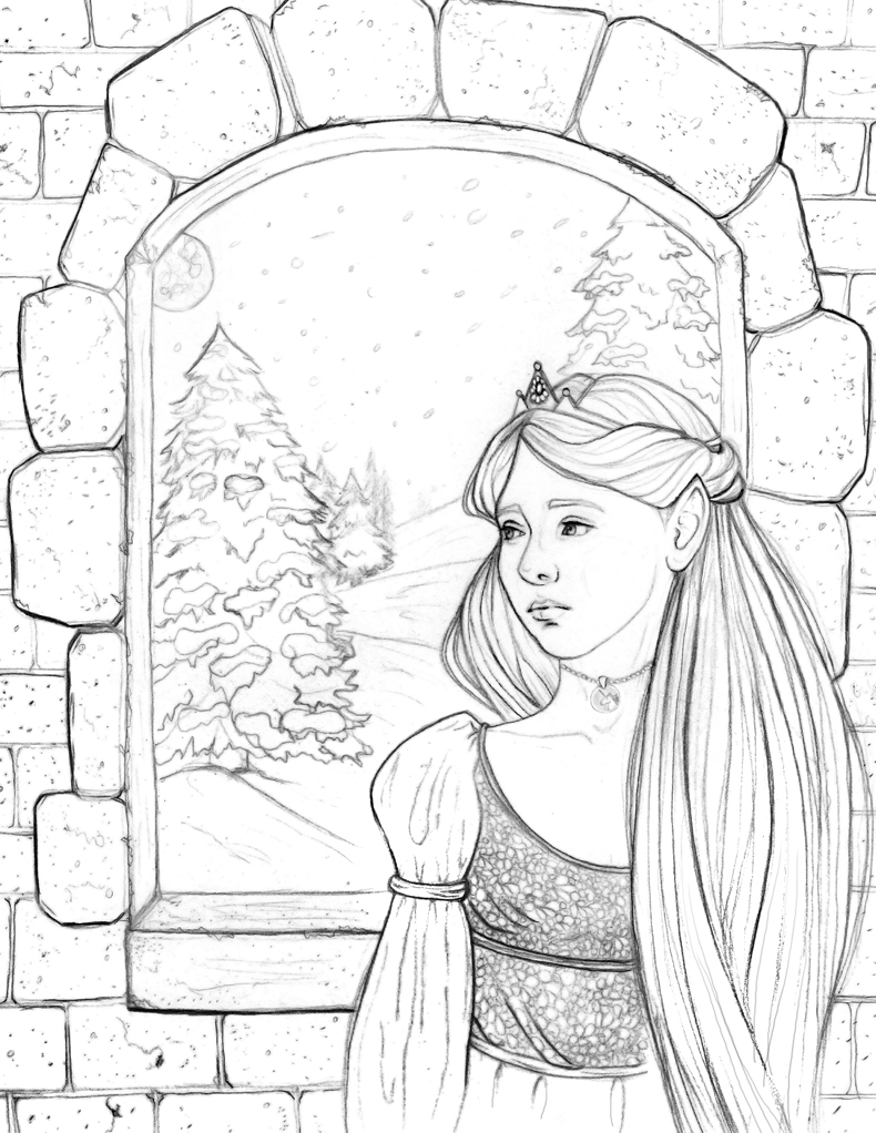 coloring book project of Fantastic Tales of Fae: Art by Angela Murdock