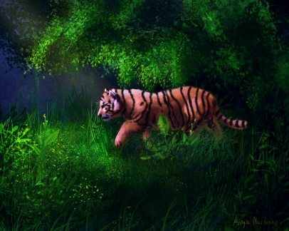 Tiger Cub in Forest art by Angela Murdock